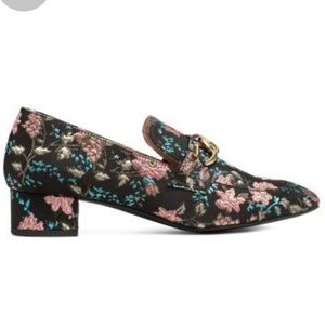 H&M black floral jacquard chain detail loafers